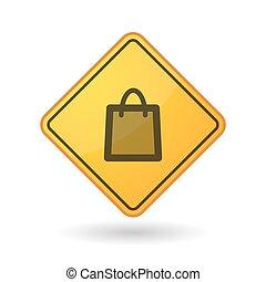 Awareness sign with a shopping bag