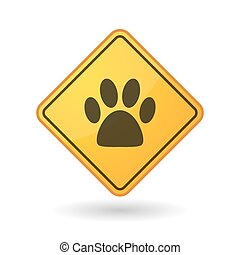 Awareness sign with  an animal footprint