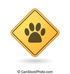 Awareness sign with  an animal footprint