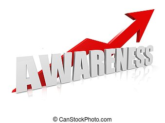 Awareness with upward red arrow - Rendered artwork with...