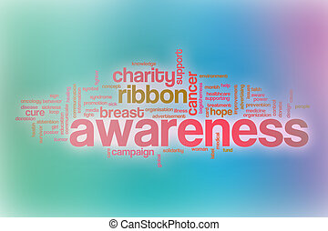 Awareness word cloud with abstract background