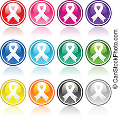 Colorful collection of awareness ribbon buttons.