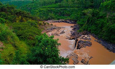 awash, 急流, パノラマ, エチオピア, 滝, 川