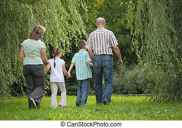 away., 歩くこと, 家族, 2, 早く, park., 彼ら, 秋, 子供