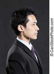 away., chinês, negócio, olhando jovem, homem