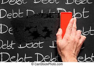 away., het wissen, schulden