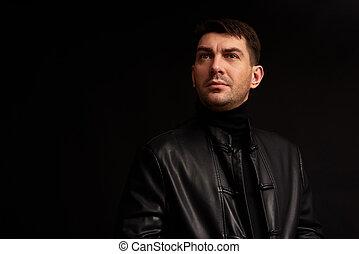 away., regarder, confiant, arrière-plan noir, homme, beau