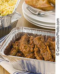 away-, rundvlees, madras, pilau, indiër, nemen, groente, rijst, samosa