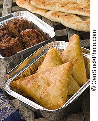 away-, samosa, ui, naan, indiër, nemen, groente, bahji, brood