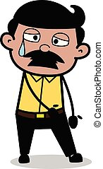 Aweary - Indian Cartoon Man Father Vector Illustration