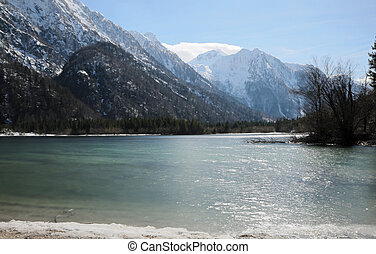 awesome alpine little lake called Predil Lake Northern Italy...