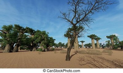Awesome baobabs in African savannah - Awesome baobab trees ...