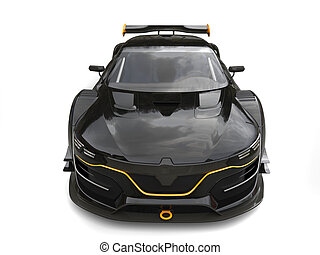 Awesome black super car with yellow details - front top view