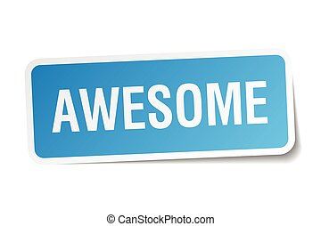 awesome blue square sticker isolated on white