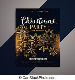 awesome christmas flyer brochure with golden snowflakes