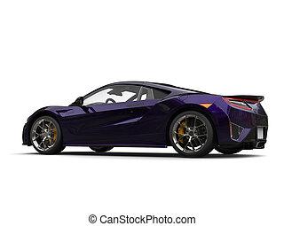Awesome dark purple super sports car - beauty shot