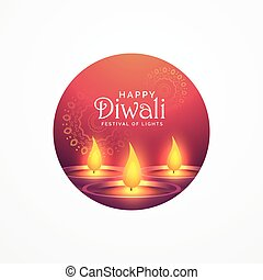 awesome diwali greeting card design with burning diya for...