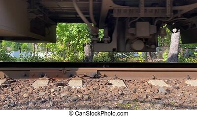 Awesome footage of moving train from the low angle. Wheels ...