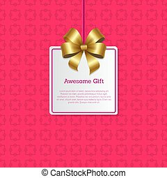 Awesome Gift Sign on Square Card with Gold Bow
