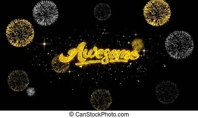 Awesome Golden Text Blinking Particles with Golden Fireworks...