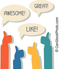 Awesome, Great, Like - Many thumbs up and words Awesome,...