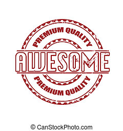 awesome grunge stamp whit on vector illustration