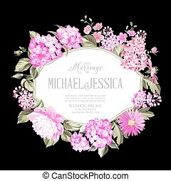 Awesome invitation card of color flowers. Spring flowers. Cherry blossom. Marriage invitation. Vector illustration.