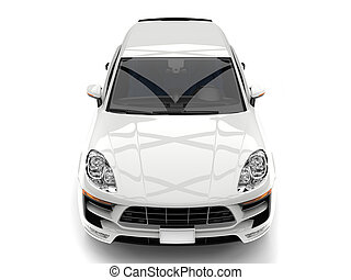 Awesome modern white SUV - top  down front view