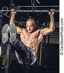 awesome, muskuløse, mand, ind, militær, pants.