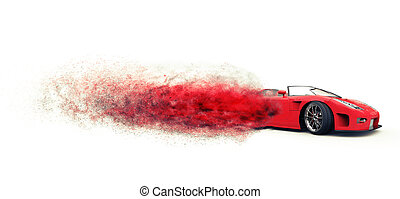 Awesome red sportscar disintegrating