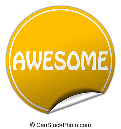 AWESOME round yellow sticker on white background