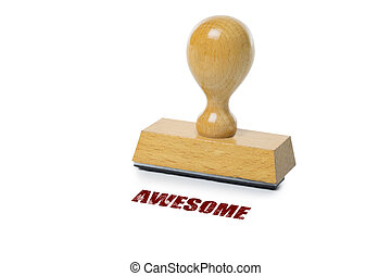 Awesome Rubber Stamp - Awesome printed in red ink with...