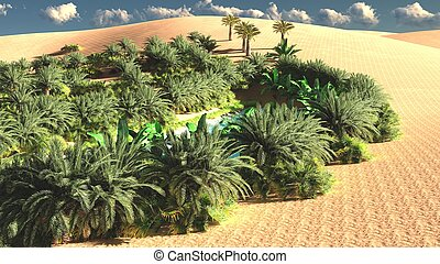 Awesome view on Sahara desert at sunset 3d rendering -...