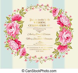Awesome vintage label of color flowers. Vector illustration.