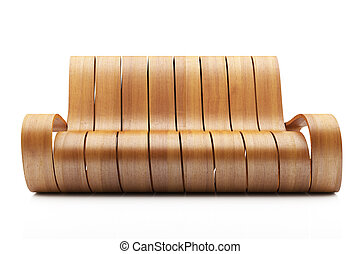 Awesome Wood Couch on white background