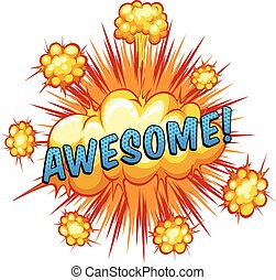 Word awesome with cloud explosion background