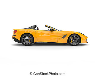 Awesome yellow modern cabriolet sports car - side view