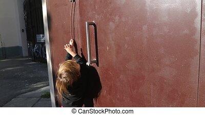 awiofon, osiąganie, dom, guzik, wejście, dziecko