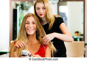 awizować, kobieta, fryzjer, dostając