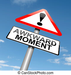 Awkward moment. - Illustration depicting a roadsign with an ...