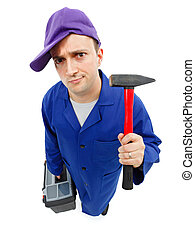 Awkward repairman with hammer - Top view of an awkward ...