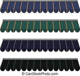 awning - illustration of four different color vector awnings