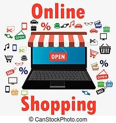 awning., vente, store., ligne, ordinateur portable