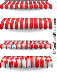 awnings - detailed illustration of set of striped awnings
