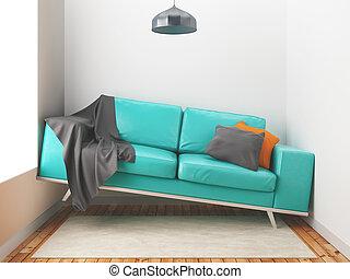 Awry sofa, big sofa in a small room, 3d render illustration...