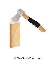 Ax chops down a wooden log. Vector illustration on white background.
