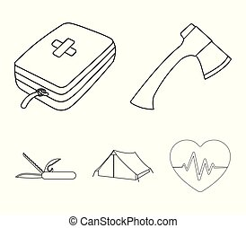 Ax, first-aid kit, tourist tent, folding knife. Camping set collection icons.