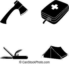 Ax, first-aid kit, tourist tent, folding knife. Camping set collection icons in black style vector symbol stock illustration web.