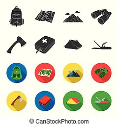 Ax, first-aid kit, tourist tent, folding knife. Camping set collection icons in black,flet style vector symbol stock illustration web.