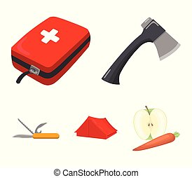 Ax, first-aid kit, tourist tent, folding knife. Camping set collection icons in cartoon style vector symbol stock illustration web.